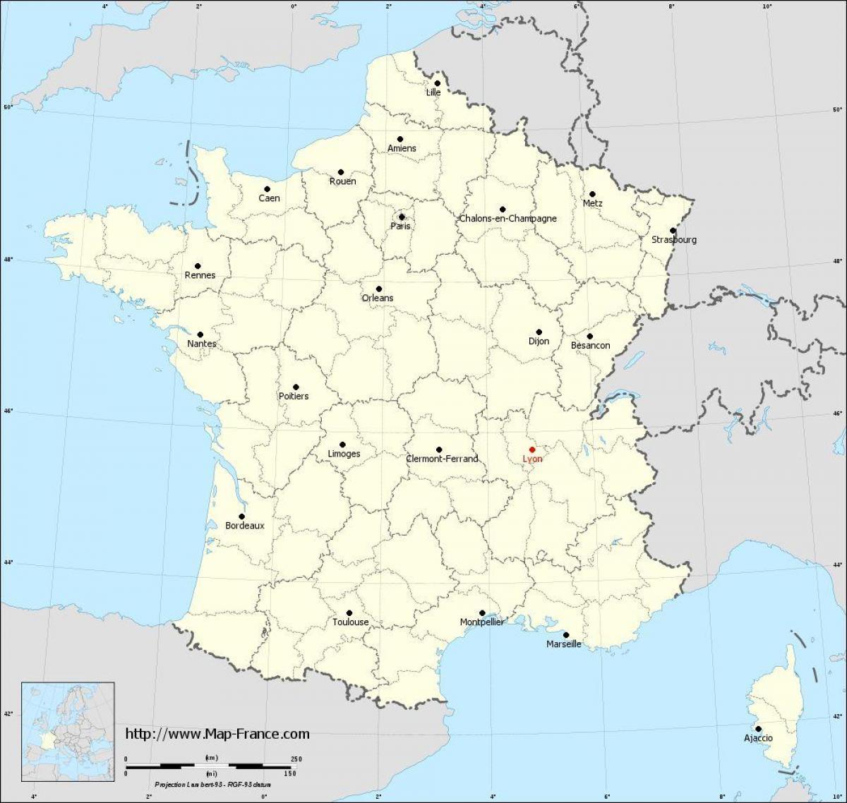 Lyon Ranska Kartta Lyon Kartalla Auvergne Rhone Alpes Ranska
